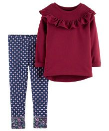 Carter's 2-Piece Ruffle Top & Jacquard Legging Set - Maroon Navy Blue