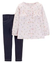 Carter's 2-Piece Space Button-Front & Jegging Set - Pink Navy Blue