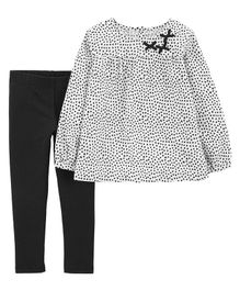 Carter's 2-Piece Polka Dot Flannel Top & Legging Set - White & Black