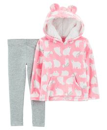 Carter's 2-Piece Polar Bear Fleece Hoodie & Legging Set - Pink & Grey
