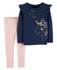 Carter's 2-Piece Unicorn Fleece Top & Star Legging Set - Navy Blue Pink