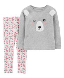 Carter's 2-Piece Bear Fleece Top & Floral Legging Set - Grey