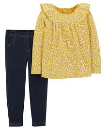 Carter's 2-Piece Floral Ruffle Top & Jegging Set - Yellow Blue