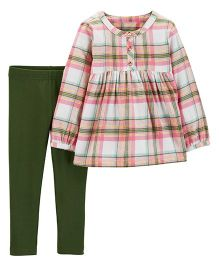 Carter's 2-Piece Plaid Flannel & Legging Set - Pink & Green