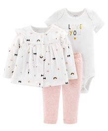 Carter's 3-Piece Little Cardigan Set - White Pink