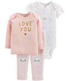 Carter's 3 Piece Little Character Set - White Peach
