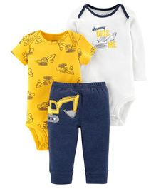 Carter's 3 Piece Little Character Set - White Yellow Navy Blue