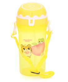 Flip Open Sipper Water Bottle With Strap Yellow - 550 ml