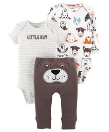 Carter's 3 Piece Little Character Set - White Brown