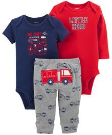 Carter's 3 Piece Little Character Set - Red Navy Blue  Grey