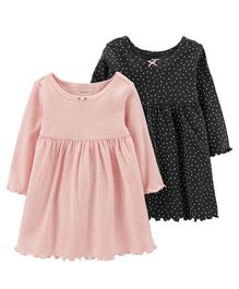 Carter's 2-Pack Long-Sleeve Dress Set - Pink Black