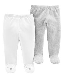 Carter's 2-Pack Babysoft Footed Pants - White Grey