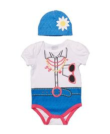 Superfie Street Style Summer Theme Romper With Cap - White & Blue