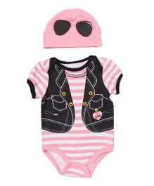 Superfie Jacket Print Striped Romper With Cap - Pink