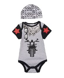 Superfie Street Style Biker Theme Romper With Cap - Grey