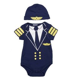 Superfie Street Style Pilot Theme Romper With Cap - Navy