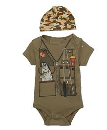 Pre Order - Superfie Street Style Safari Theme Romper With Cap - Light Brown