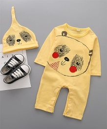 Superfie Bear Face Print Romper With Cap - Yellow