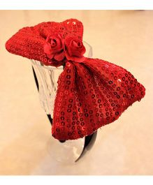 Many Frocks & Big Sequines Bow Hair Band - Red