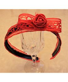 Many Frocks & Big Heart Bow & Rose Hair Band - Red