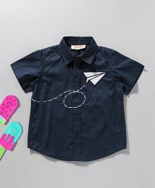 Hugsntugs Shirt With Patched Paper Plane - Navy Blue