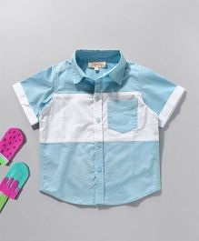 Hugsntugs Colour Block Shirt - White & Blue