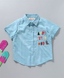 Hugsntugs Short Sleeve Shirt With Embroidery - Light Blue