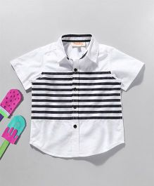 Hugsntugs Short Sleeve Shirt With Stripes At Front - White