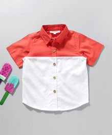 Hugsntugs Colour Block Shirt - Red & White