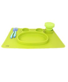 VISMIIMTREND Anti Slip Placemat With Silicon Spoon & Fork - Green