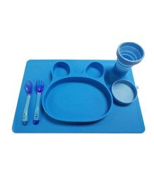 VISMIIMTREND Anti Slip Placemat With Silicon Spoon & Fork - Blue