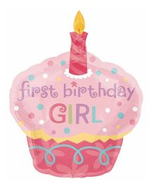 Party Anthem Large Foil Balloon First Birthday Girl Cupcake Design - Pink