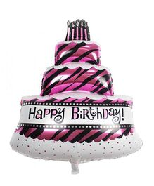 Party Anthem Three Tier Happy Birthday Cake Foil Balloon - Pink
