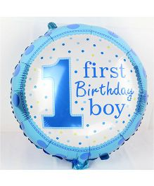 Party Anthem First Birthday Boy Polka Foil Balloon - Blue