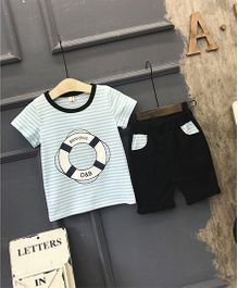 Superfie Sailor Style Tee & Shorts - Blue