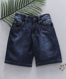 Palm Tree Washed Style Denim Shorts - Blue