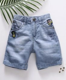 Palm Tree Ice Washed Style Denim Shorts - Light Blue