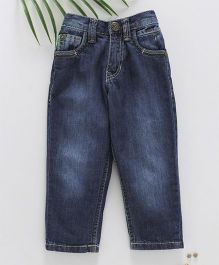 Palm Tree Full Length Washed Jeans - Navy