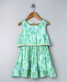 Palm Tree Party Wear Dress Lace Design - Green