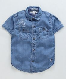 Palm Tree Half Sleeves Stone Wash Denim Shirt - Dark Blue