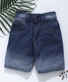 Palm Tree Stone Wash Denim Shorts - Blue