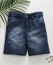 Palm Tree Washed Denim Shorts - Navy Blue