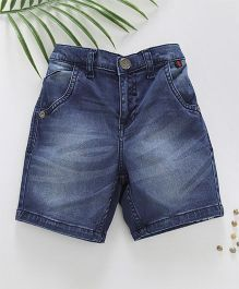 Palm Tree Washed Denim Shorts - Blue
