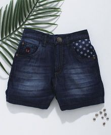 Palm Tree Denim Shorts Star Print - Dark Blue