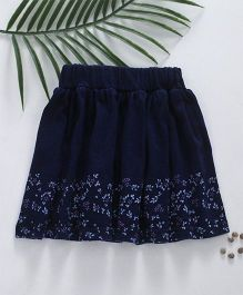 Palm Tree Corduroy Skirt Floral Print - Blue