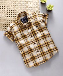 Jash Kids Half Sleeves Shirt Checks Pattern - Mustard