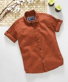 Jash Kids Half Sleeves Printed Shirt - Brown