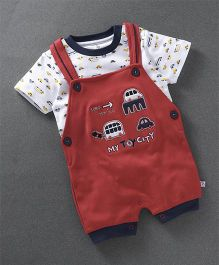 Baby Go Short Sleeves T-Shirt With Dungaree Style Romper Embroidered Car - Red
