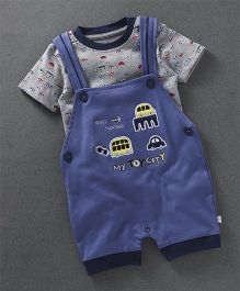 Baby Go Short Sleeves T-Shirt With Dungaree Style Romper Embroidered Car - Blue Grey