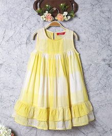 Olele Tiered Check Shift Dress With Lace Hemfold - Yellow